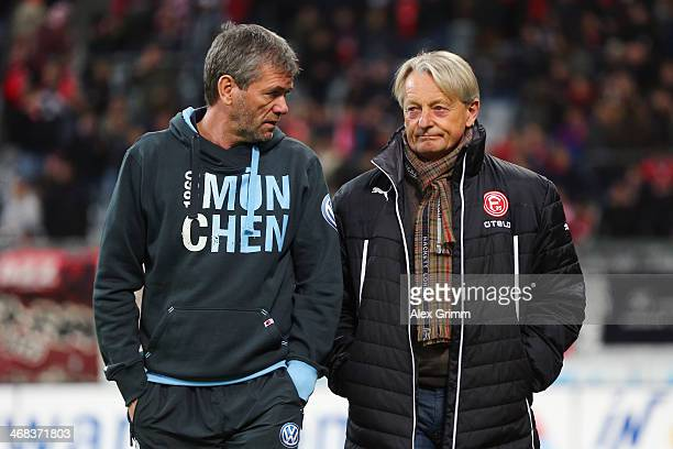Head coaches Friedhelm Funkel of Munich and LorenzGuenther Koestner of Duesseldorf chat prior to the Second Bundesliga match between TSV 1860...