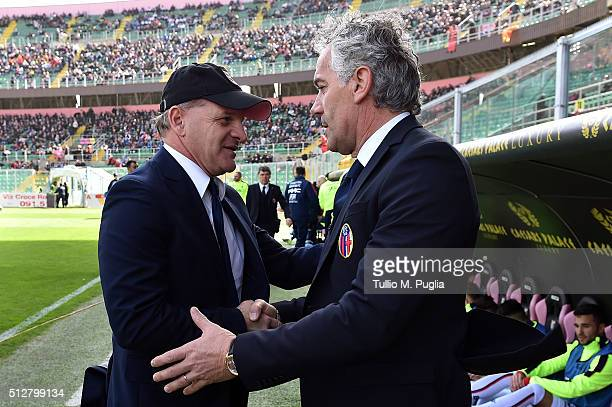 Head coaches Giuseppe Iachini of Palermo and Roberto Donadoni of Bologna shake hands during the Serie A match between US Citta di Palermo and Bologna...