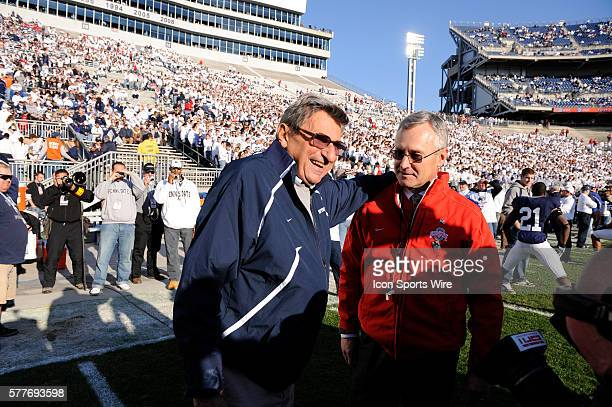 Head coaches Joe Paterno and Jim Tressel chat before Saturday's game at Beaver Stadium in University Park PA on Saturday afternoon