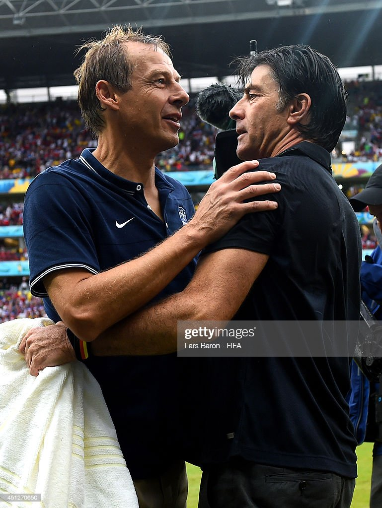 Head coaches <a gi-track='captionPersonalityLinkClicked' href=/galleries/search?phrase=Jurgen+Klinsmann&family=editorial&specificpeople=228023 ng-click='$event.stopPropagation()'>Jurgen Klinsmann</a> (L) of the United States and <a gi-track='captionPersonalityLinkClicked' href=/galleries/search?phrase=Joachim+Loew&family=editorial&specificpeople=215315 ng-click='$event.stopPropagation()'>Joachim Loew</a> of Germany talk after the 2014 FIFA World Cup Brazil Group G match between USA and Germany at Arena Pernambuco on June 26, 2014 in Recife, Brazil.
