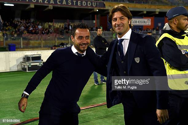 Head coaches Roberto De Zerbi of Palermo and Massimo Rastelli of Cagliari look on during the Serie A match between Cagliari Calcio v US Citta di...