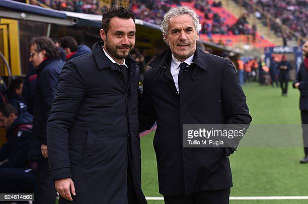 Head coaches Roberto De Zerbi of Palermo and Roberto Donadoni of Bologna pose during the Serie A match between Bologna FC and US Citta di Palermo at...