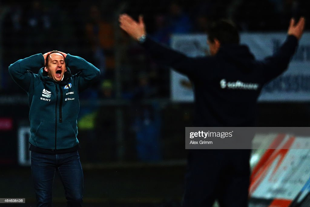 Head coaches Torsten Lieberknecht of Braunschweig and Dirk Schuster of Darmstadt reacts during the Second Bundesliga match between SV Darmstadt 98...