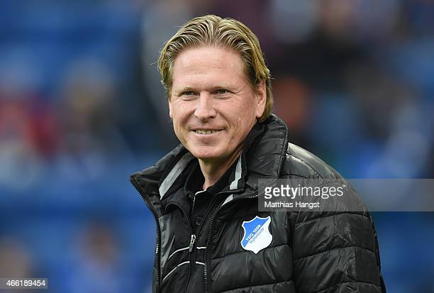 Head coah Markus Gisdol of Hoffenheim seen prior to the Bundesliga match between 1899 Hoffenheim and Hamburger SV at Wirsol RheinNeckarArena on March...