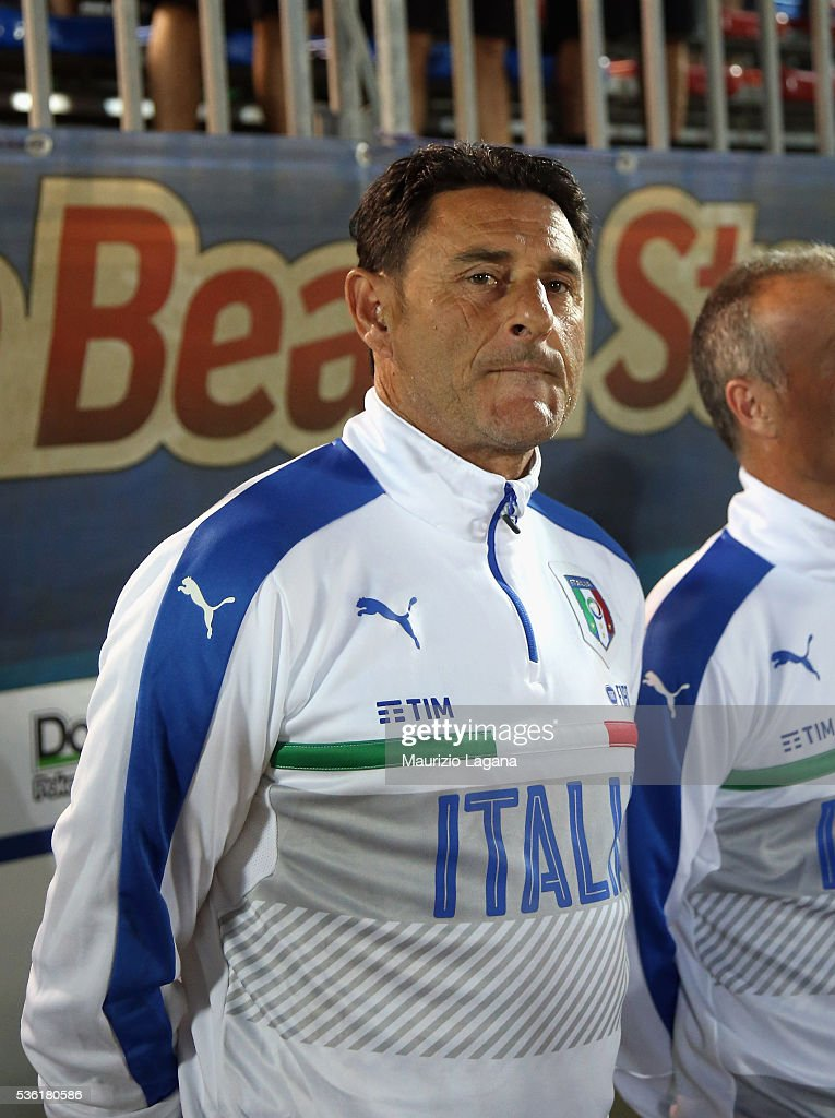Head coah of Italy Massimo Agostini during the beach soccer international frienldy between Italy and Iran on May 31, 2016 in Catania, Italy.