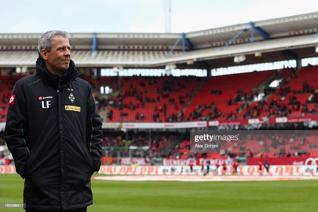 Head coais challenged by Lucien Favre of Moenchengladbach looks on prior to the Bundesliga match between 1. FC Nuernberg and VfL Borussia Moenchengladbach at Easy Credit Stadium on February 3, 2013 in Nuremberg, Germany.
