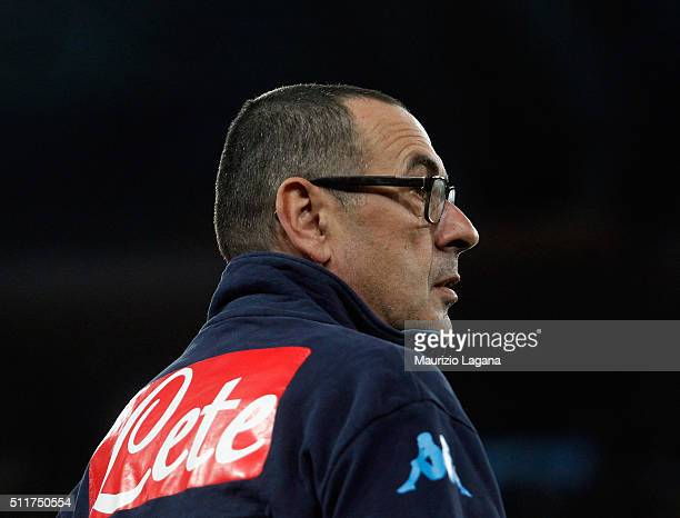 Head cocah of Napoli Maurizio Sarri during the Serie A between SSC Napoli and AC Milan at Stadio San Paolo on February 22 2016 in Naples Italy
