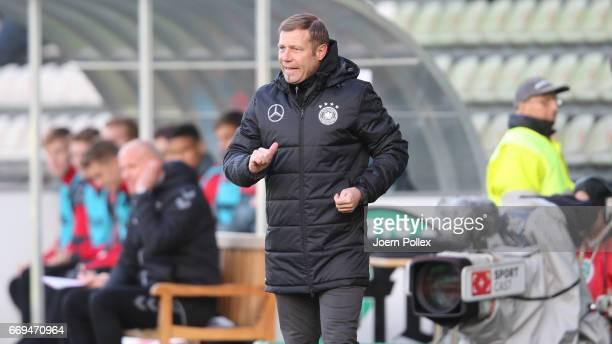 Head coch Frank Kramer of Germany gestures during the international friendly between U19 Germany and U19 Denmark at Stadion Lohmuehle on April 17...