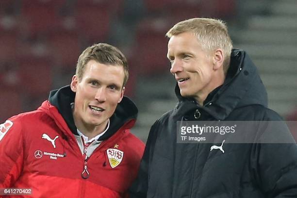 Head couch Hannes Wolf of Stuttgart speak with Jan Schindelmeiser of Stuutgart during the Second Bundesliga match between VfB Stuttgart and Fortuna...