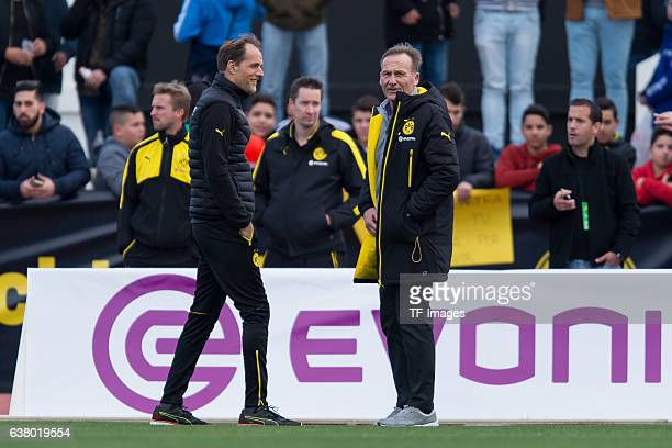 Head couch Thomas Tuchel of Dortmund and CEO HansJoachim Watzke of Dortmund during the friendly match between Borussia Dortmund v PSV Eindhoven...