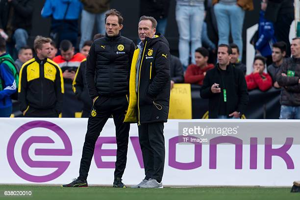 Head couch Thomas Tuchel of Dortmund and CEO HansJoachim Watzke of Dortmund looks on during the friendly match between Borussia Dortmund v PSV...