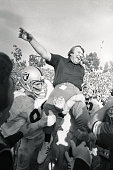 Head football coach John Madden is carried on the shoulders of the Oakland Raiders Football Team after winning their first Super Bowl The Raiders...