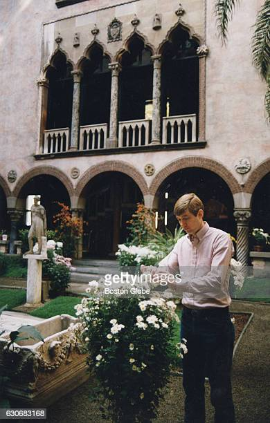 Head gardener Stan Kozak tends to his plantings at the Isabella Stewart Gardner Museum in Boston on Oct 26 1992