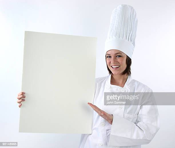 Chef holding leere poster