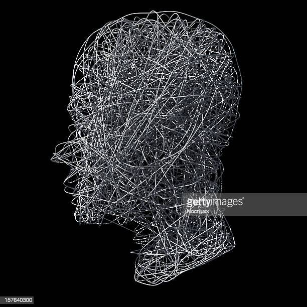 Head made out of wires on black background