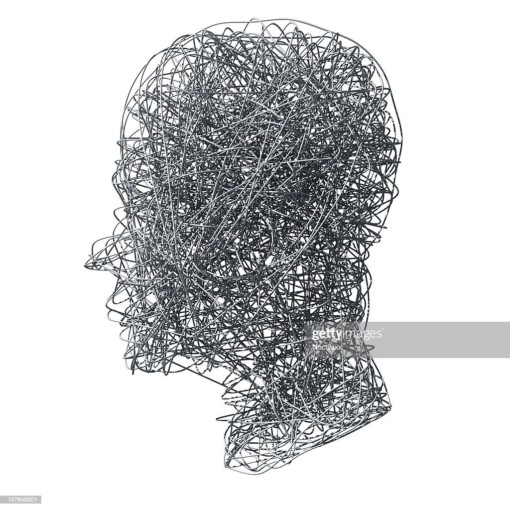 Wirefilled head on white