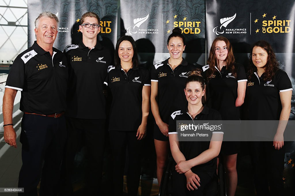 Head New Zealand swimming coach Jon Shaw, Jesse Reynolds, Bryall McPherson, <a gi-track='captionPersonalityLinkClicked' href=/galleries/search?phrase=Sophie+Pascoe&family=editorial&specificpeople=5521857 ng-click='$event.stopPropagation()'>Sophie Pascoe</a>, Nikita Howarth, Mary Fisher and Rebecca Dubber pose for a photo after being named during the New Zealand Para-Swimming team announcement at Sir Owen Glenn Aquatic Centre on May 5, 2016 in Auckland, New Zealand.