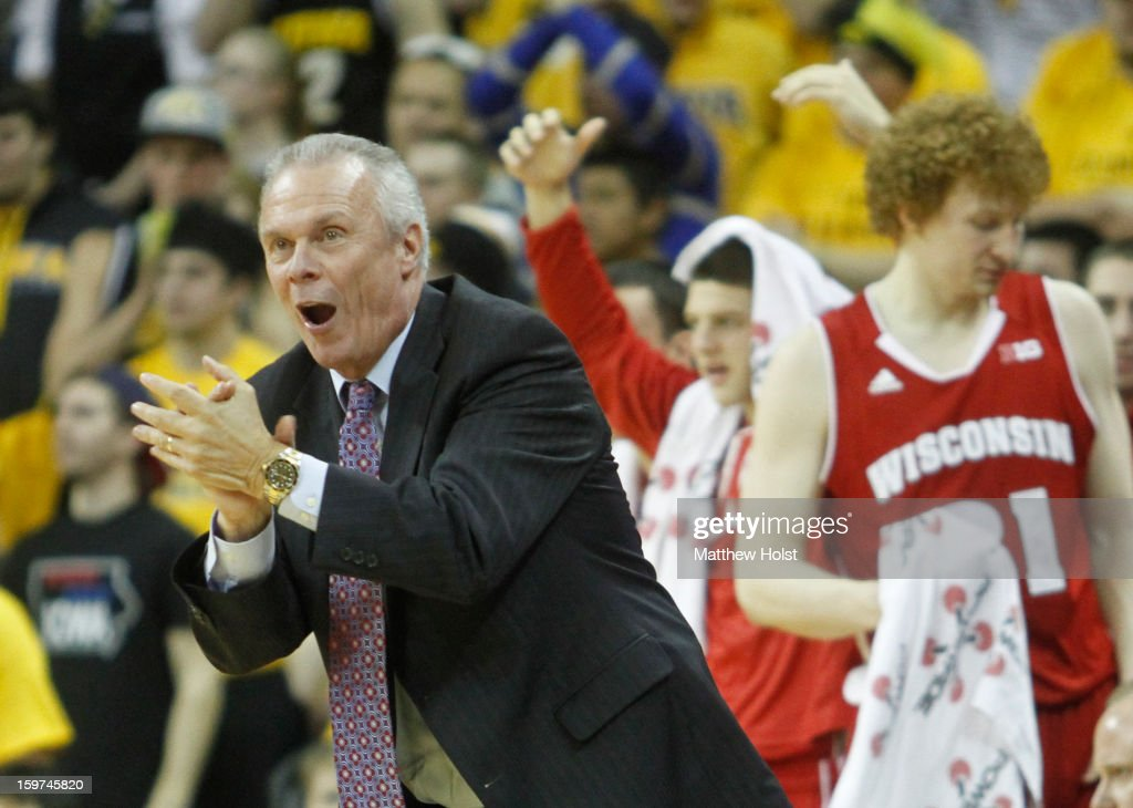 Head oach <a gi-track='captionPersonalityLinkClicked' href=/galleries/search?phrase=Bo+Ryan&family=editorial&specificpeople=198945 ng-click='$event.stopPropagation()'>Bo Ryan</a> of the Wisconsin Badgers cheers on his players during the second half against the Iowa Hawkeyes on January 19, 2013 at Carver-Hawkeye Arena in Iowa City, Iowa. Iowa won 70-66.