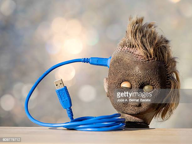 Head of a doll with a cable of computer connected to the brain