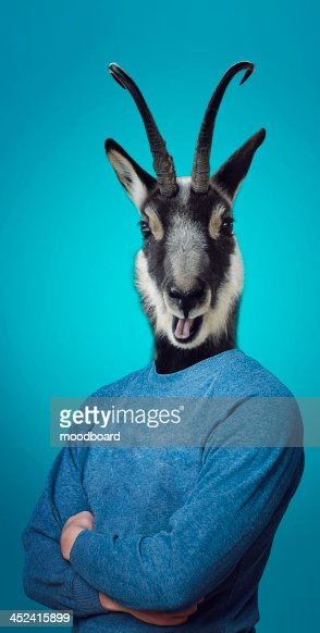 Head of a Goat on a man's body : Photo