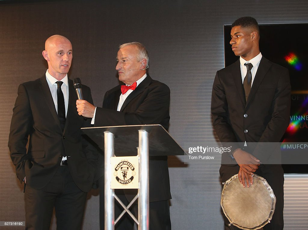 Head of Academy <a gi-track='captionPersonalityLinkClicked' href=/galleries/search?phrase=Nicky+Butt&family=editorial&specificpeople=201917 ng-click='$event.stopPropagation()'>Nicky Butt</a> of Manchester United is interviewed by host <a gi-track='captionPersonalityLinkClicked' href=/galleries/search?phrase=Jim+Rosenthal&family=editorial&specificpeople=1707616 ng-click='$event.stopPropagation()'>Jim Rosenthal</a> at the club's annual Player of the Year awards at Old Trafford on May 2, 2016 in Manchester, England.