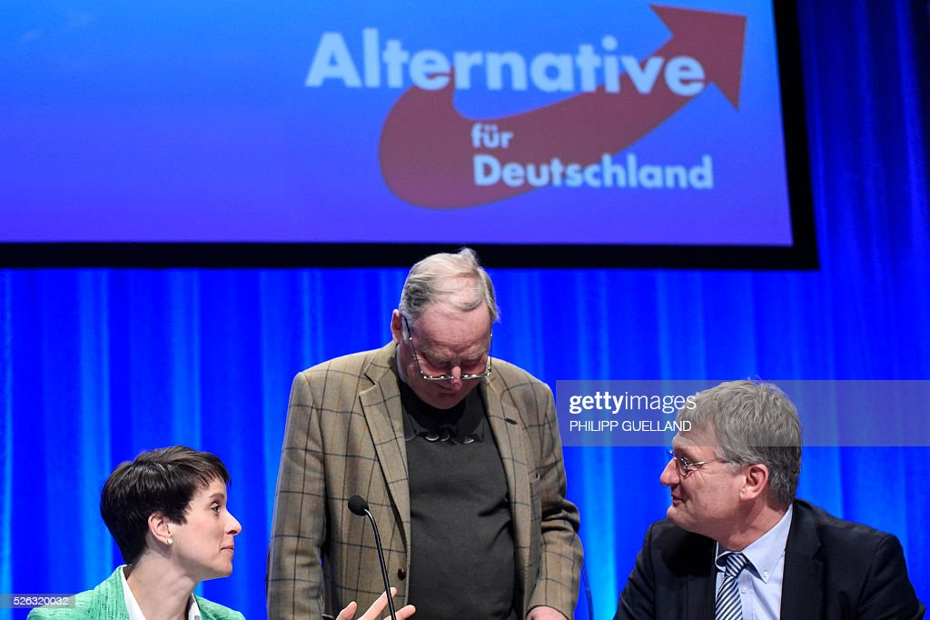 Head of AFD, Frauke Petry, AFD deputy chairman Alexander Gauland and co-leader Joerg Meuthen attend a party congress of the German right wing party AfD (Alternative fuer Deutschland) at the Stuttgart Congress Centre ICS on April 30, 2016 in Stuttgart, southern Germany. The Alternative for Germany (AfD) party is meeting in the western city of Stuttgart, where it is expected to adopt an anti-Islamic manifesto, emboldened by the rise of European anti-migrant groups like Austria's Freedom Party. / AFP / Philipp GUELLAND