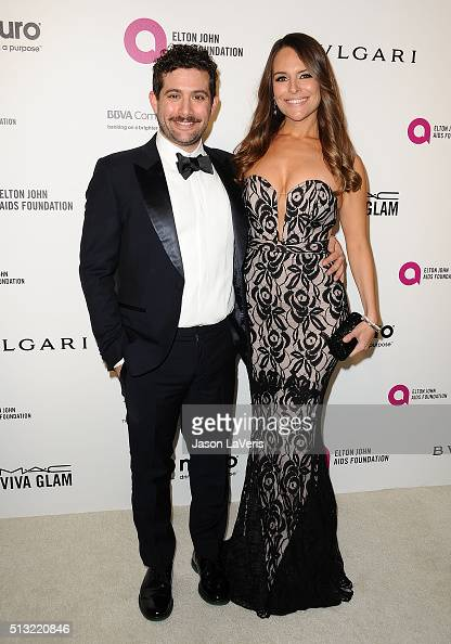 Head of Amazon Comedy Joe Lewis and Yara Martinez attend the 24th annual Elton John AIDS Foundation's Oscar viewing party on February 28 2016 in West...