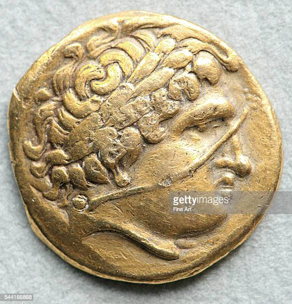 Head of Apollo Gaulish imitation of the gold stater of Philip II of Macedon from the area of central and eastern Gaul Located in Cabinet des...