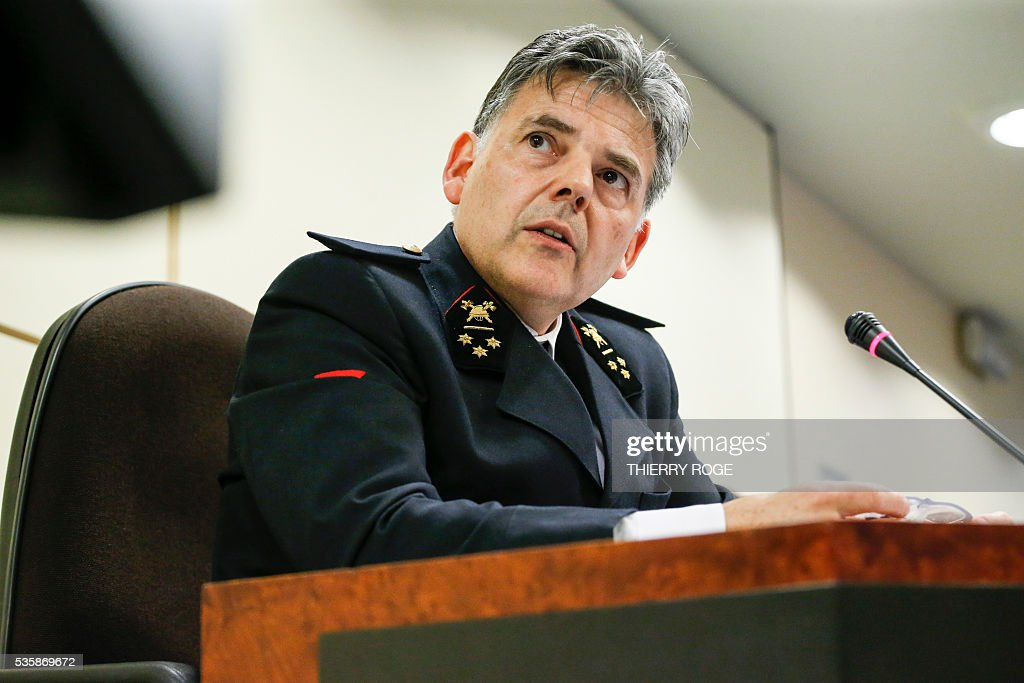 Head of Brussels Fire Department and Urgent Medical Aid (SIAMU - DBDMH) Tanguy du Bus de Warnaffe answers questions during a hearing of the parliamentary inquiry commission for Brussels' terror attacks of March 22, at the Belgian Federal Parliament, in Brussels on May 30, 2016. / AFP / Belga / THIERRY ROGE / Belgium OUT