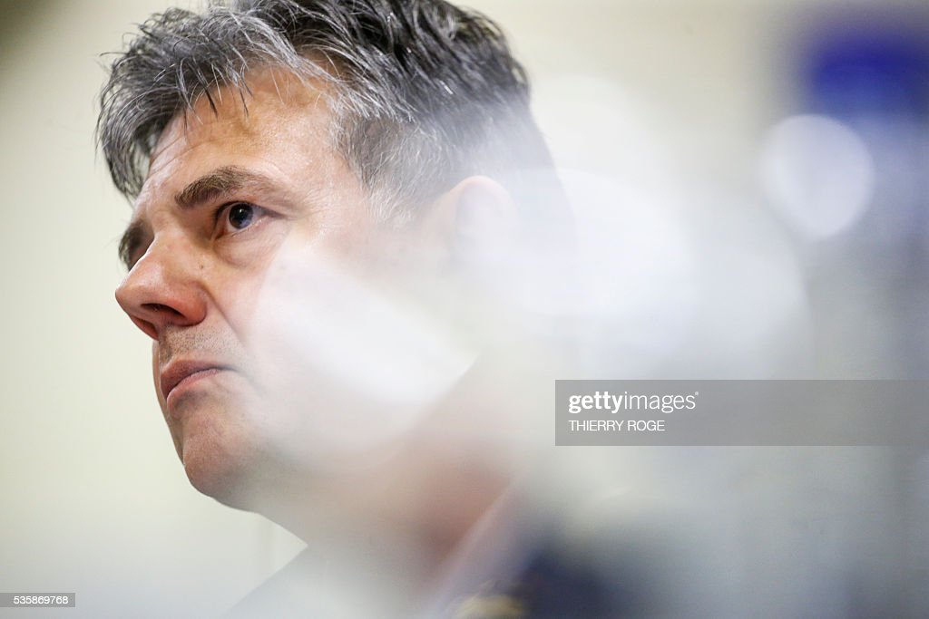 Head of Brussels Fire Department and Urgent Medical Aid (SIAMU - DBDMH) Tanguy du Bus de Warnaffe looks on as he answers questions during a hearing of the parliamentary inquiry commission for Brussels' terror attacks of March 22, at the Belgian Federal Parliament, in Brussels on May 30, 2016. / AFP / Belga / THIERRY ROGE / Belgium OUT