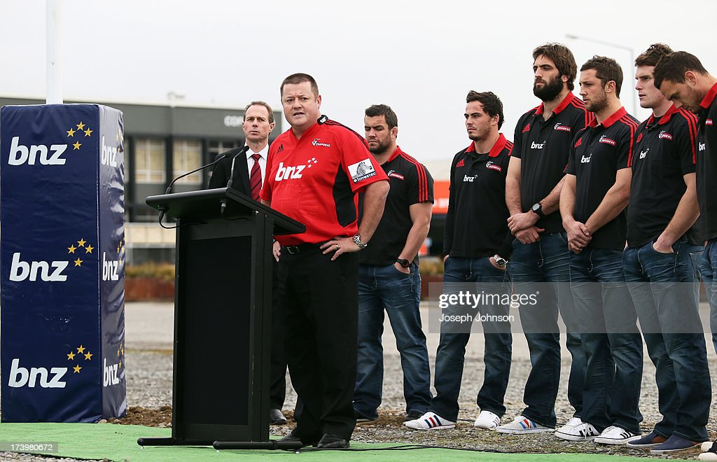 BNZ Head of Business Banking Campbell Parker speaks during a media announcement that BNZ will be naming rights sponsor of the Crusaders on July 19, 2013 in Christchurch, New Zealand.
