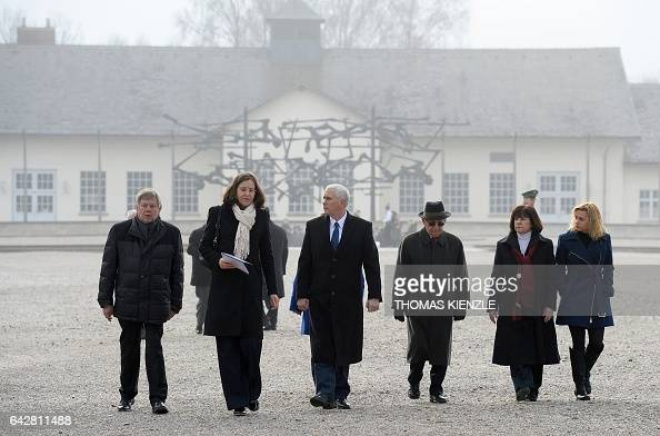 Head of Dachau Concentration Camp Memorial Site Gabriele Hammermann US Vice President Michael Richard Pence former prisoners of Nazi concentration...
