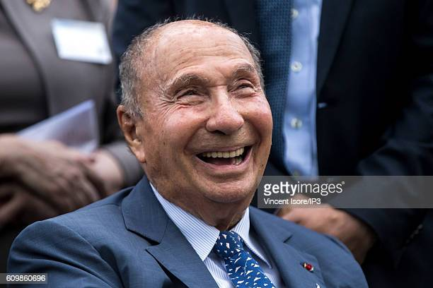 Head of Dassault Group Serge Dassault inaugurates with the Ile de France region the 'Pavillon' 3D printing a first in Europe in additive...