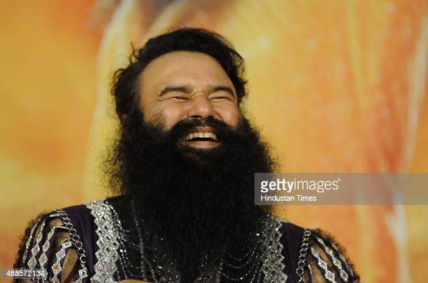 Head of Dera Sacha Sauda sect Gurmeet Ram Rahim Singh addressing the media during the premiere of his upcoming movie MSG2 at sector29 on September 16...