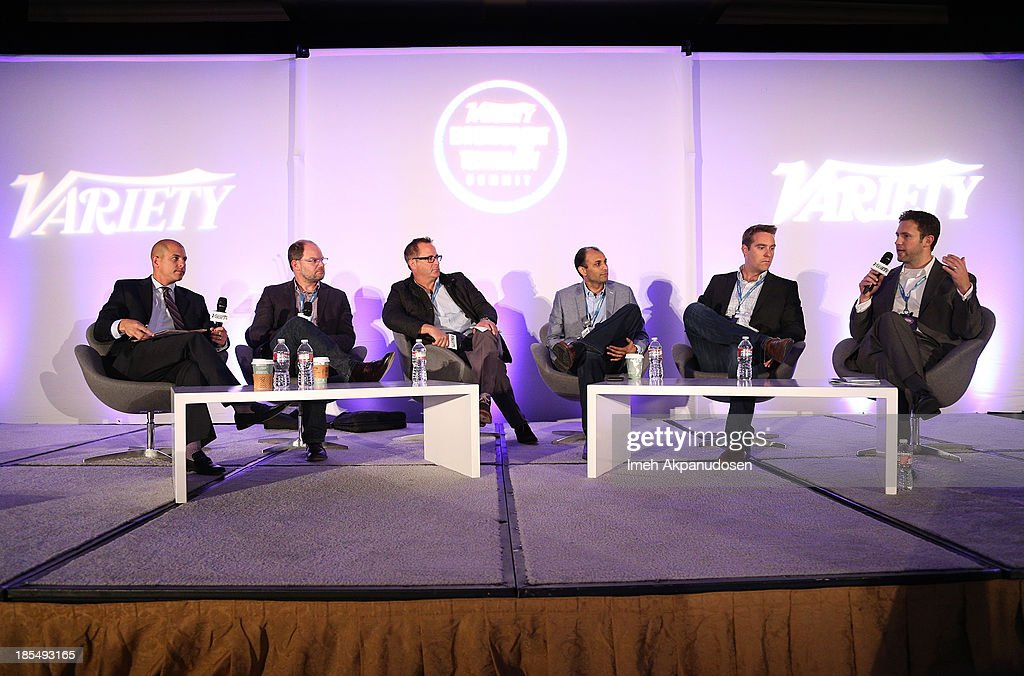 Head of Digital Media UTA & Moderator Brent Weinstein, Group Operating Officer Discovery Digital Networks Colin Decker, VP Film Akamai Steve Chester, CEO OneScreen Atul Patel, Head of Monetization Ooyala Adam Sewall, and VP West Coast & National Entertainment Sales VEVO Adam Smith speak onstage during the 'Monetization Of The Online Network Who's Getting It Right?' panel during the Variety Entertainment and Technology Summit at Ritz Carlton Hotel on October 21, 2013 in Marina del Rey, California.