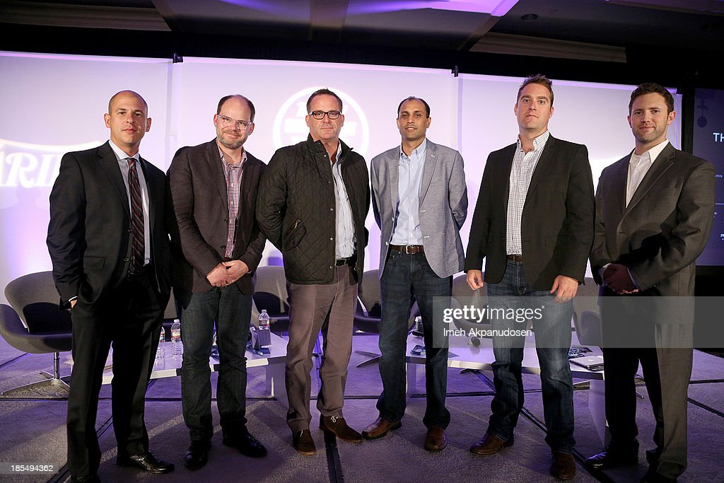 Head of Digital Media UTA & Moderator Brent Weinstein, Group Operating Officer Discovery Digital Networks Colin Decker, VP Film Akamai Steve Chester, CEO OneScreen Atul Patel, Head of Monetization Ooyala Adam Sewall, and VP West Coast & National Entertainment Sales VEVO Adam Smith onstage during the 'Monetization Of The Online Network Who's Getting It Right?' panel at the Variety Entertainment and Technology Summit at Ritz Carlton Hotel on October 21, 2013 in Marina del Rey, California.