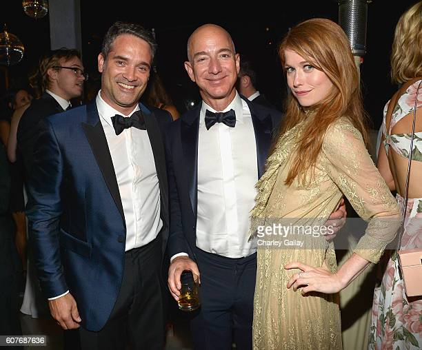 Head of Drama Development at Amazon Studios Morgan Wandell Jeff Bezos CEO of Amazoncom Inc and actress Genevieve Angelson attend Amazon's Emmy...