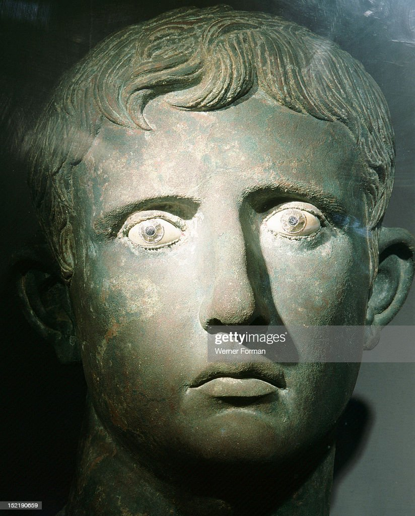 Head of Emperor Augustus from a colossal bronze statue, an example of the highly skilled workmanship characteristic of Greek craftsmen, The head was found at Meroe in the Sudan; it had probably been taken as booty in an Ethiopian raid on Roman Egypt. Italy. Roman. 27 25 BC. Meroe, Sudan