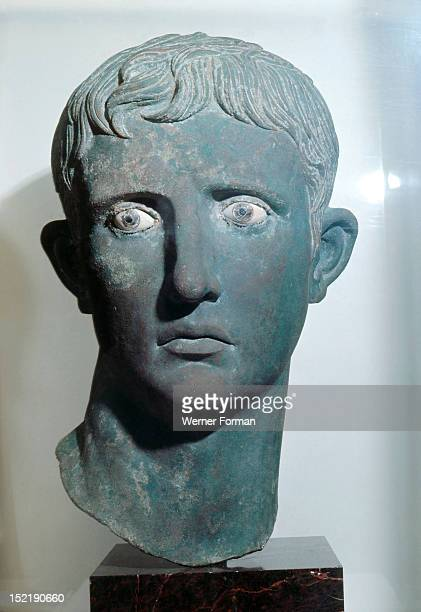 Head of Emperor Augustus from a colossal bronze statue an example of the highly skilled workmanship characteristic of Greek craftsmen The head was...
