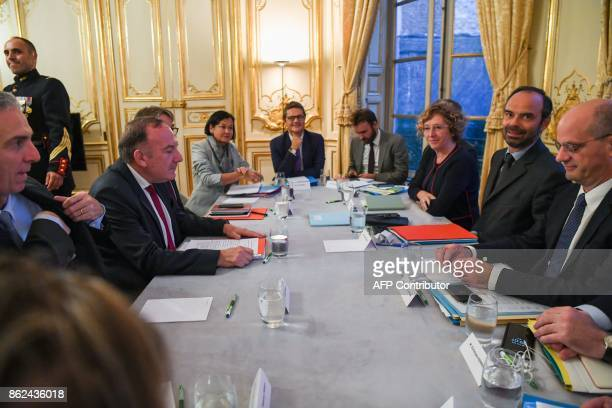 Head of employers federation MEDEF Pierre Gattaz attends a meeting with French Prime Minister Edouard Philippe French Education Minister JeanMichel...