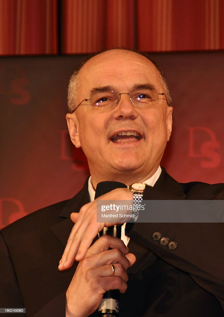 ORF head of entertainment Edgar Boehm presents the dance partners at a press conference during the eighth season of TV show 'ORF Dancing Stars 2013' on January 28, 2013 in Vienna, Austria.