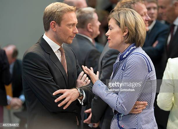 Head of FDP Christian Lindner and head of CDU in Rhineland Palatinate State Julia Klockner attend a reception on occasion of German Chancellor Angela...