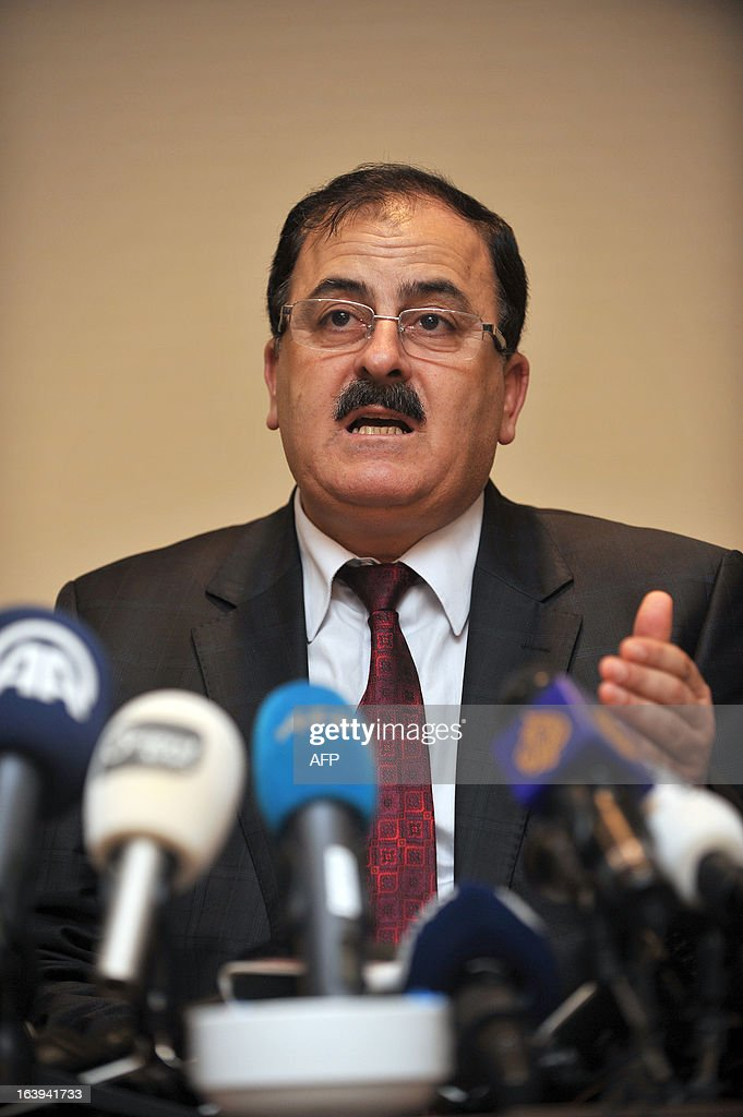 Head of Free Syrian Army Selim Idriss speaks during a press conference at the Syria's opposition coalition meeting on March 18, 2013 in istanbul to choose their first prime minister, tasked with running daily life in large swathes of territory freed from regime control but mired in chaos and poverty.