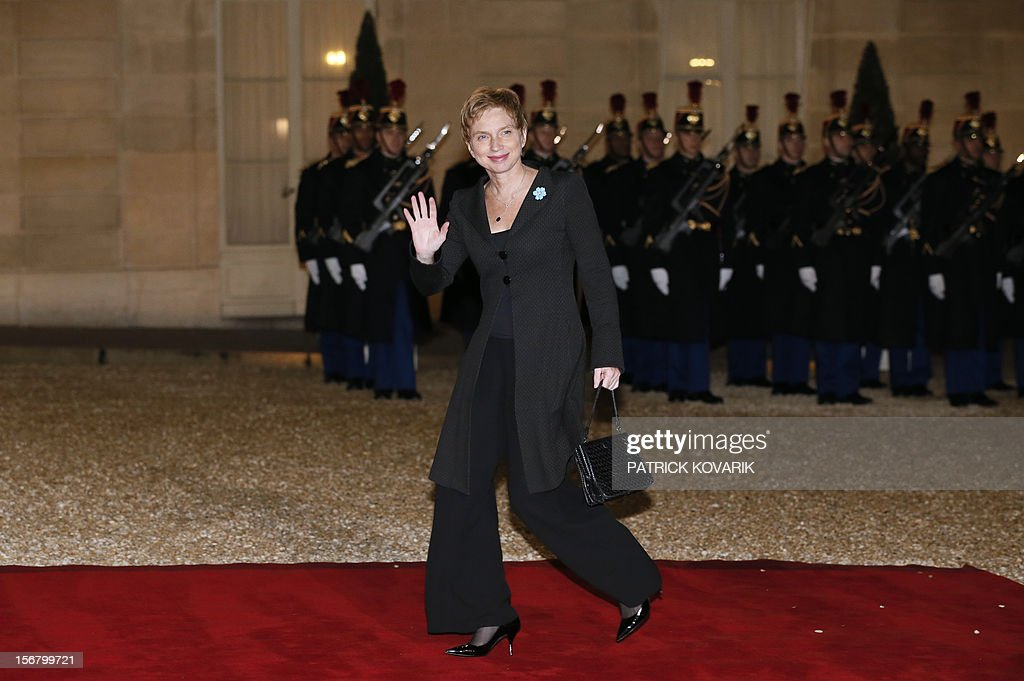 Head of French employers association Medef Laurence Parisot arrives at the Elysee palace in Paris, before a state dinner as part of a two-day state visit of Italian President Giorgio Napolitano, on November 21, 2012.