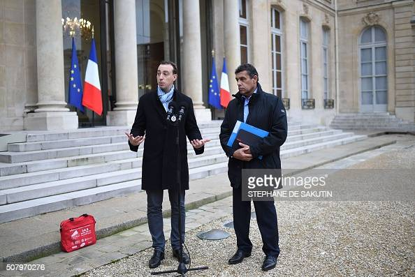 Head of French farmers union FNSEA Xavier Beulin and young Farmers' union president Thomas Diemer speak to journalists following a meeting with...