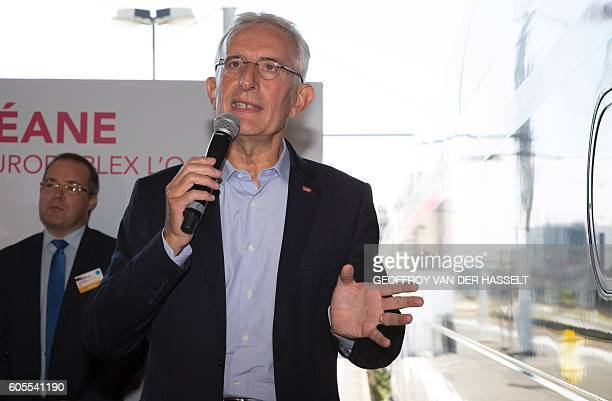 Head of French national stateowned railway company SNCF Guillaume Pepy speaks during the presentation of the new TGV high speed train called...