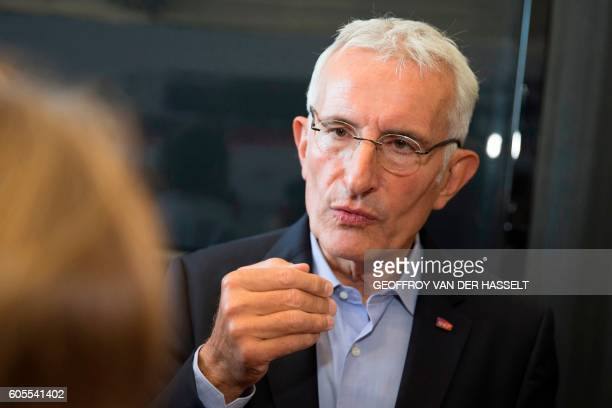 Head of French national stateowned railway company SNCF Guillaume Pepy answers journalists during the presentation of the new TGV high speed train...