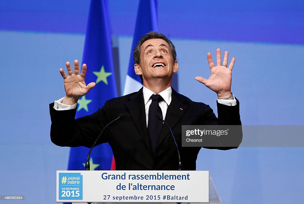 Head of French right-wing party 'Les Republicains' and former President <a gi-track='captionPersonalityLinkClicked' href=/galleries/search?phrase=Nicolas+Sarkozy&family=editorial&specificpeople=211375 ng-click='$event.stopPropagation()'>Nicolas Sarkozy</a> delivers a speech during a campaign meeting of the 'Les Republicains' on September 27, 2015 in Nogent-sur-Marne, France. Valerie Pecresse is the 'Les Republicains' right-wing party's candidate for the December regional elections in Ile-de-France.