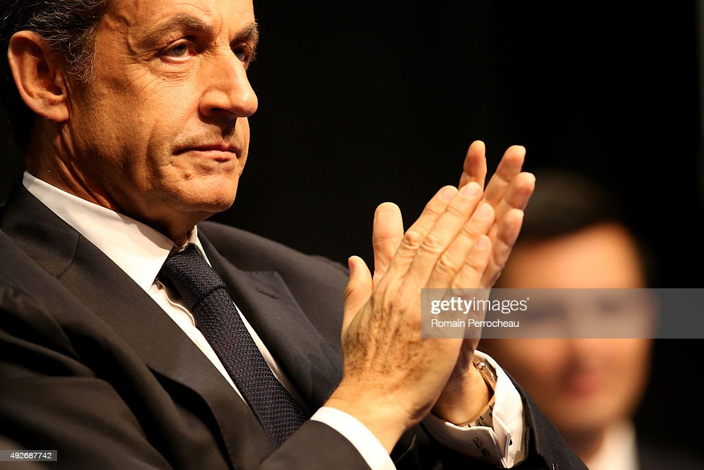 Head of French RightWing Party 'Les Republicains' and former President Nicolas Sarkozy during a campaign meeting of the 'Les Republicains' for the...