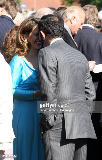 Head of Godolphin Mohammed Bin Rashid Al Maktoun with Princess Haya after Blue Bunting won the Qipco 1000 Guineas Stakes during the The QIPCO Guineas...